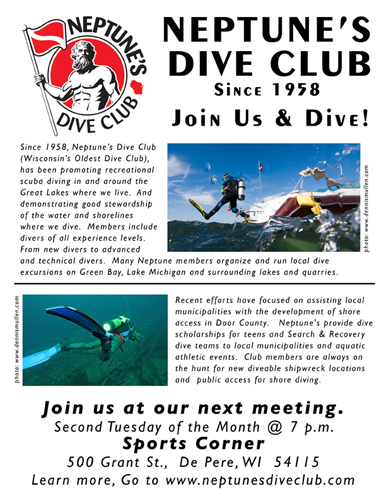 Neptune's Dive Club Meeting poster