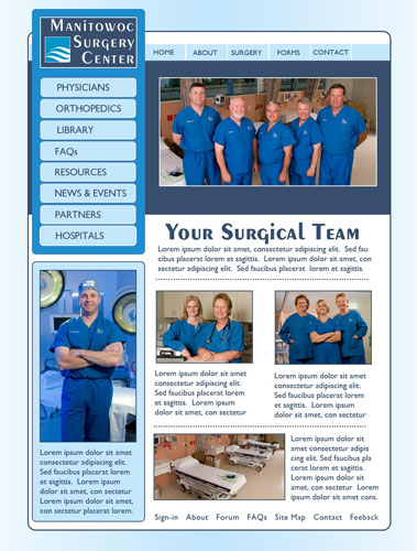 Manitowoc Surgery Center Website Proposal