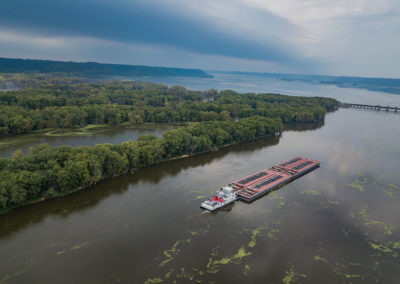 Barge on Mississippi River photo