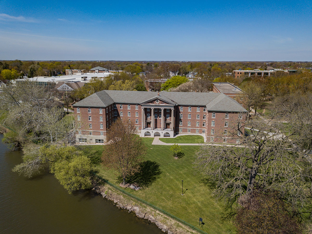 Burke Hall, Saint Norbert College Campus drone photo