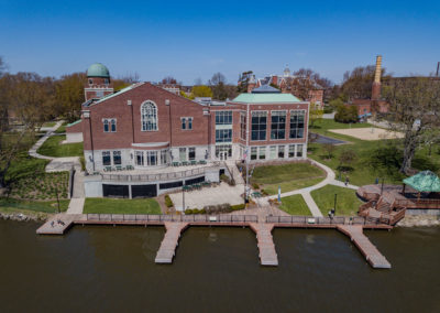 Van Den Heuval Campus Center, St. Norbert College Campus drone photo