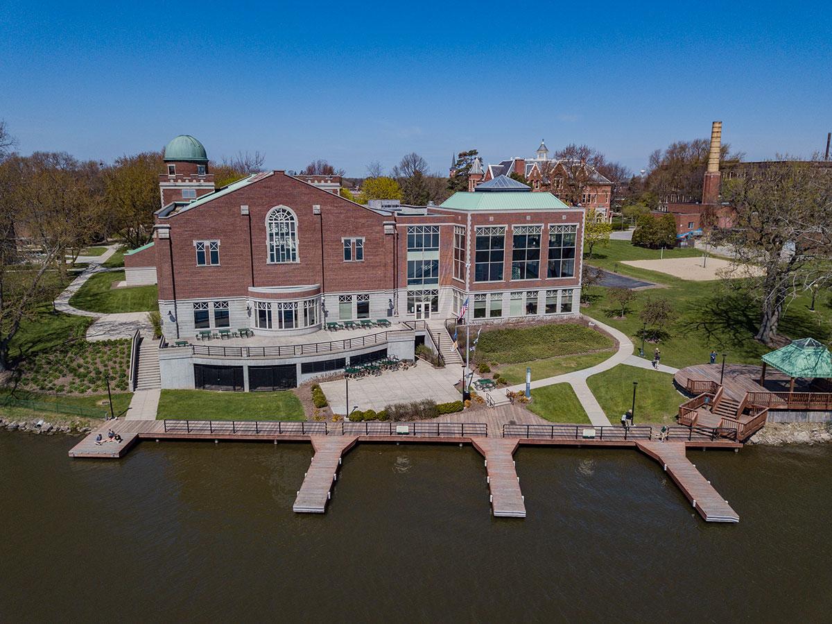 Van Den Heuval Campus Center, Saint Norbert College Campus drone photo