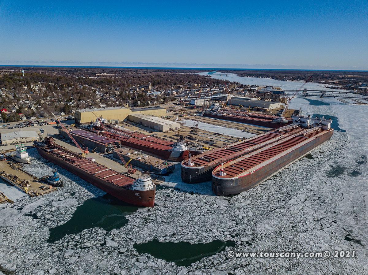 Bay Ship Building winter lay up winter 2021, Sturgeon Bay, WI